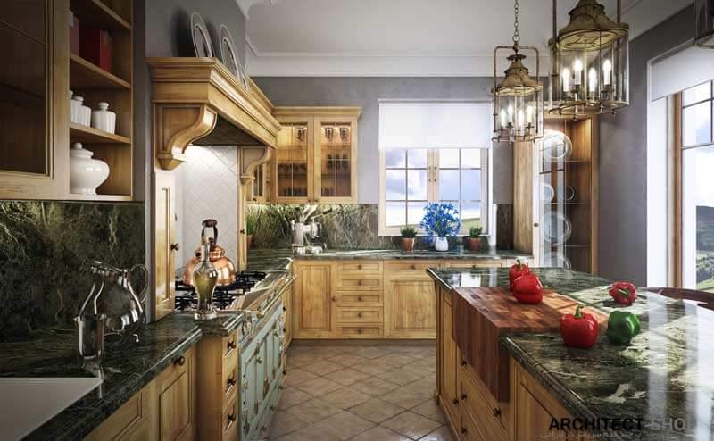 طراحی آشپزخانه کلاسیک با تری دی مکس