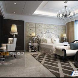 آبجکت اتاق خواب به سبک اروپایی