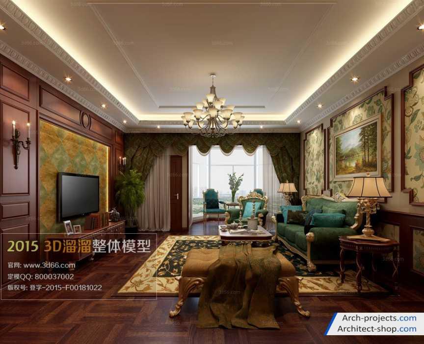 دانلود مدل سه بعدی اتاق نشیمن به سبک آمریکای