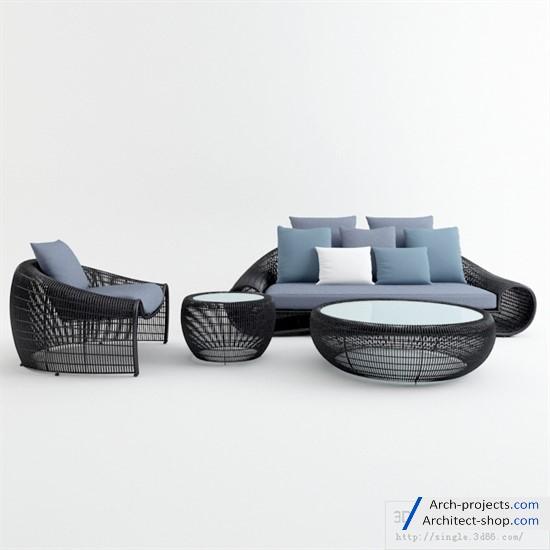 دانلود مدل سه بعدی مبلمان فضای باز