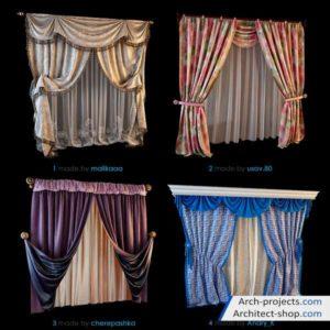 دانلود آبجکت پرده مدرن و کلاسیک - 3dobjects classic modern curtains 300x300