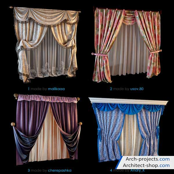 دانلود آبجکت پرده مدرن و کلاسیک - 3dobjects classic modern curtains