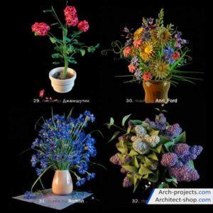 دانلود آبجکت گل خانگی - 3dobjects homemade flowers 300x300