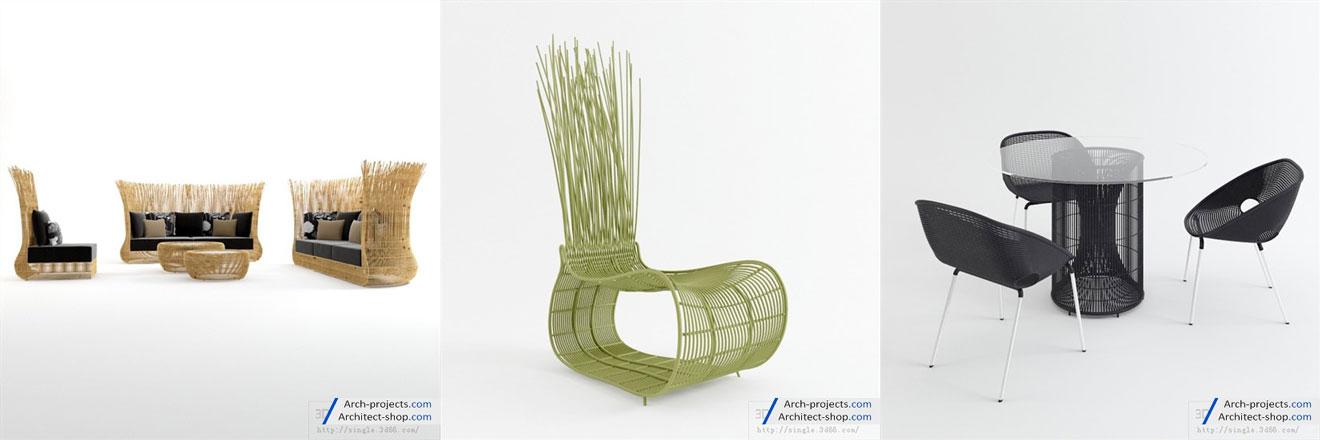 مدل سه بعدی مبلمان فضای خارجی