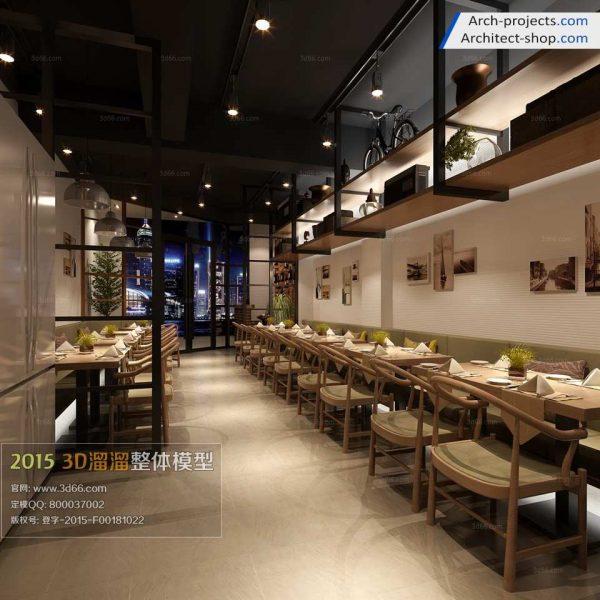 مدل سه بعدی کافی شاپ و رستوران