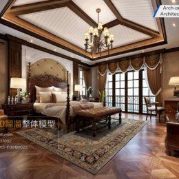 دانلود مدل سه بعدی اتاق خواب سبک آمریکای