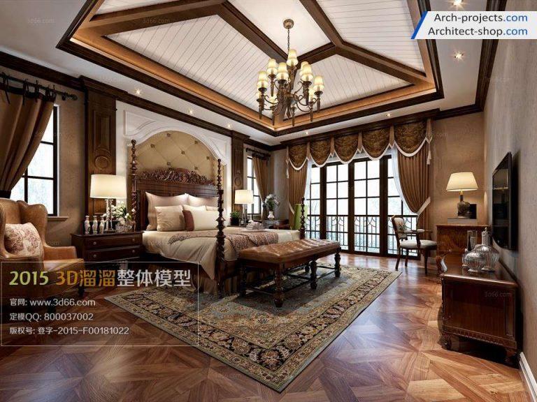 دانلود مدل سه بعدی اتاق خواب سبک آمریکای - 158 768x576
