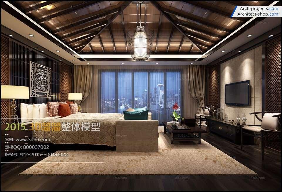 مدل سه بعدی اتاق خواب به سبک آسیای جنوب شرقی