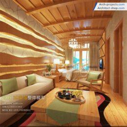 دانلود مدل سه بعدی اتاق خواب به سبک آسیای جنوب شرقی