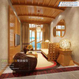 دانلود مدل سه بعدی اتاق نشیمن به سبک آسیای جنوبی
