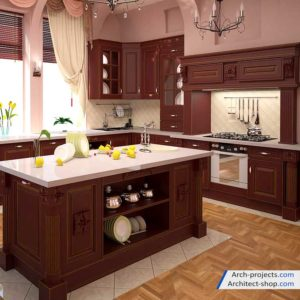صحنه آماده کابینت آشپزخانه کلاسیک