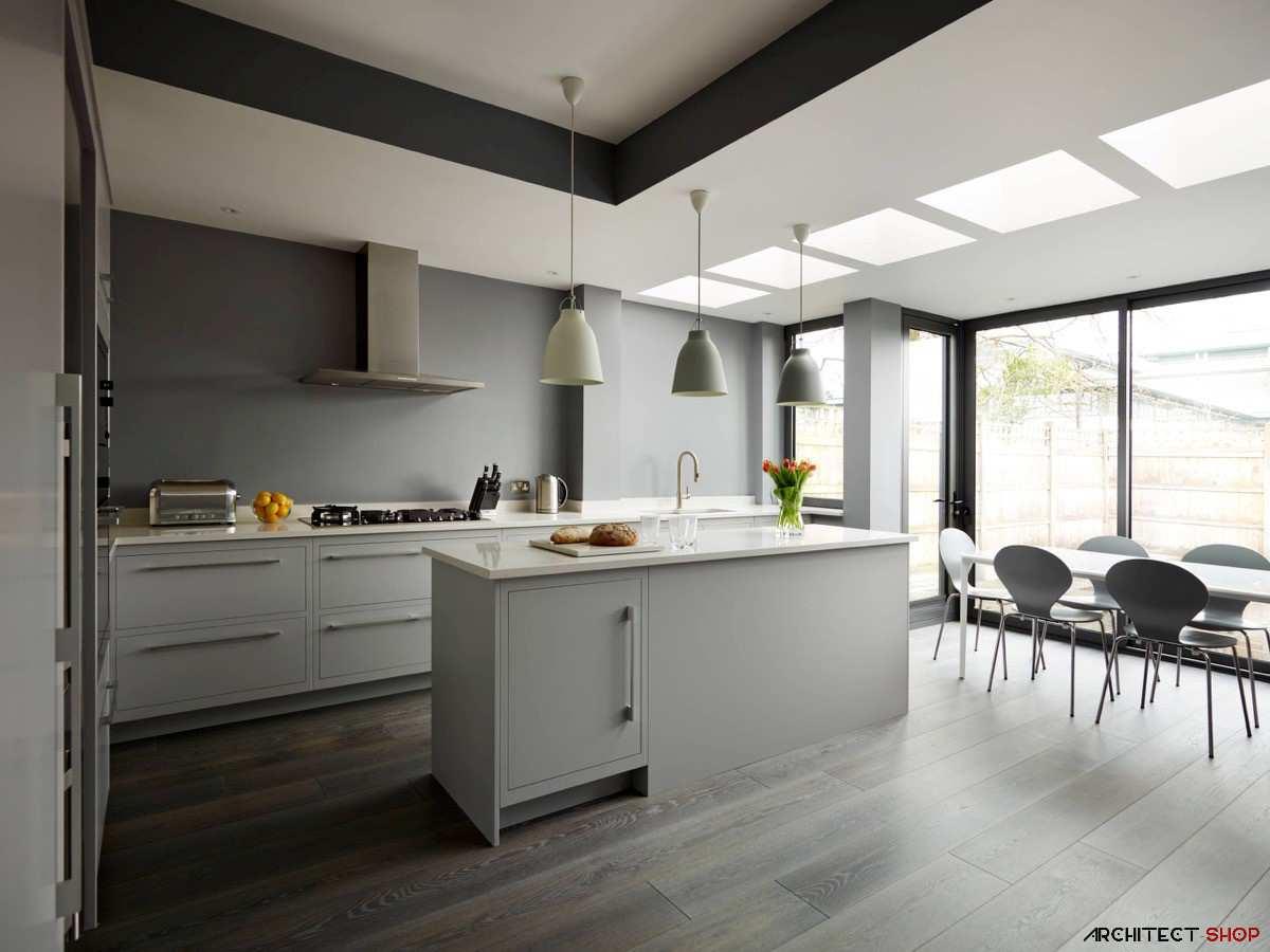آشپزخانه سفید و خاکستری