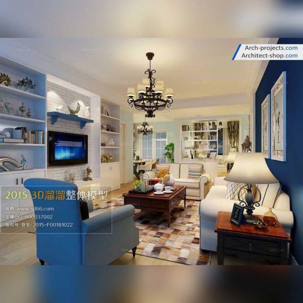 دانلود آبجکت اتاق نشمین به سبک مدیترانه ای - interior 600x600