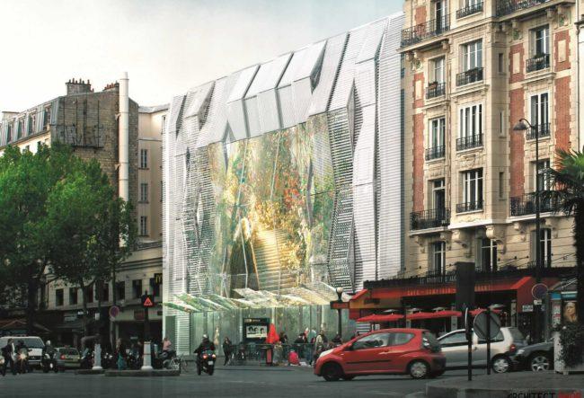 طراحی نمای سینما Alesia در پاریس با صدها پیکسل LED