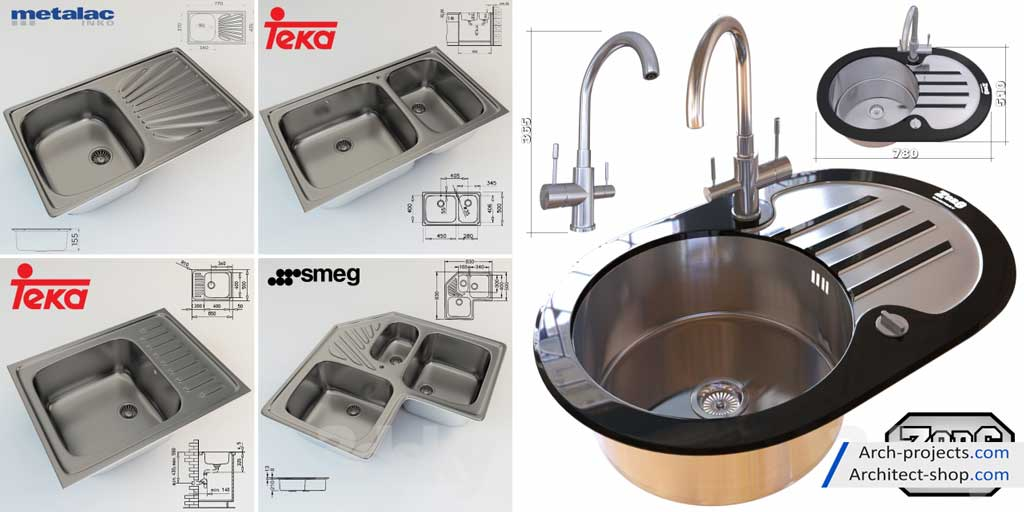 دانلود مدل سه بعدی سینک ظرفشویی - sink 2