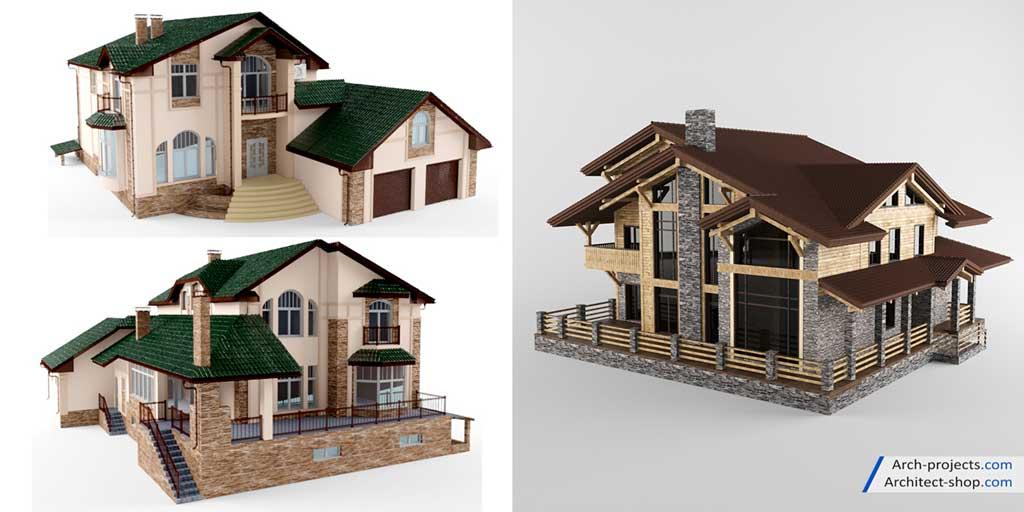 مدل سه بعدی نمای ساختمان کلاسیک