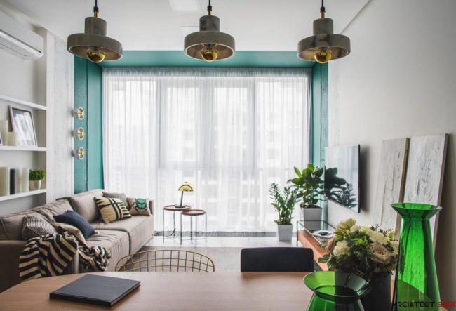 طراحی داخلی با هارمونی رنگ سبز و طلایی