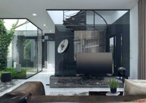 طراحی داخلی با پنجره های از کف تا سقف