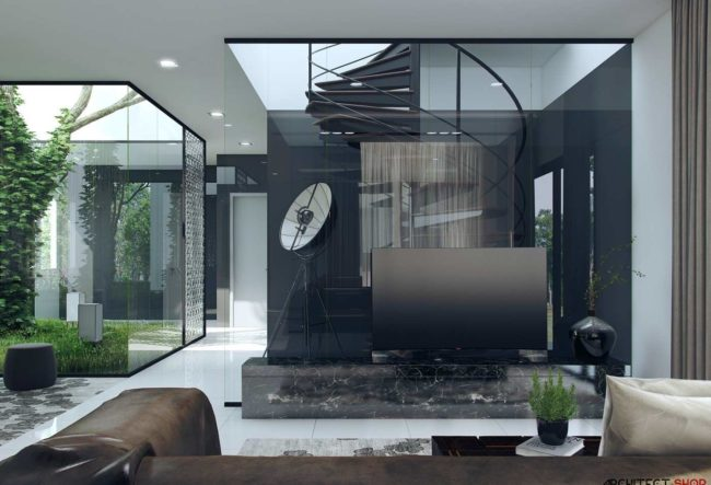 طراحی داخلی با پنجره های ممتد از کف تا سقف
