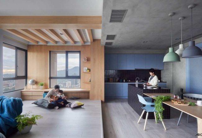 طراحی خانه تایوانی با خصوصیت برقراری تعادل میان فضای متعلق به بزرگسالان و کودکان