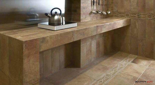 طراحی کانترآشپزخانه با استفاده از کاشی