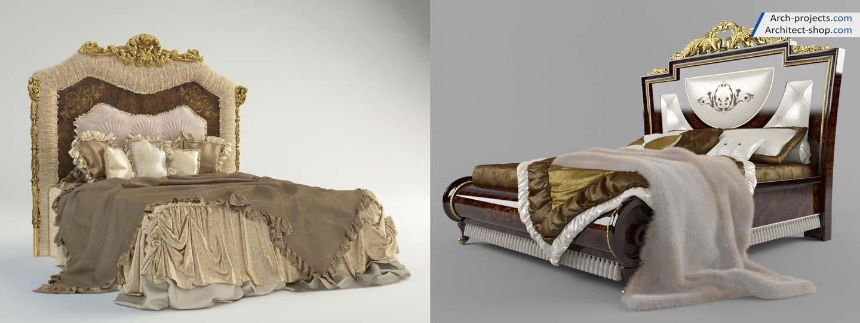 آبجکت تخت خواب کلاسیک 3dmax