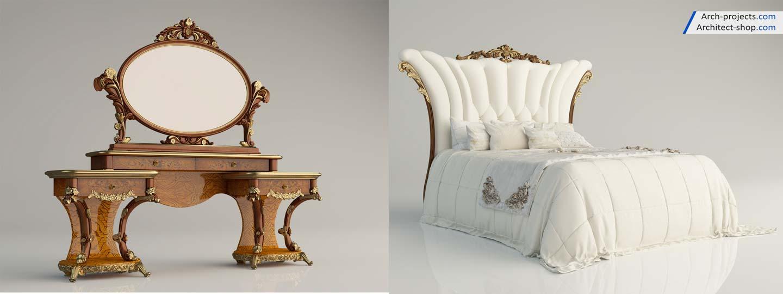 مدل سه بعدی طراحی داخلی کلاسیک