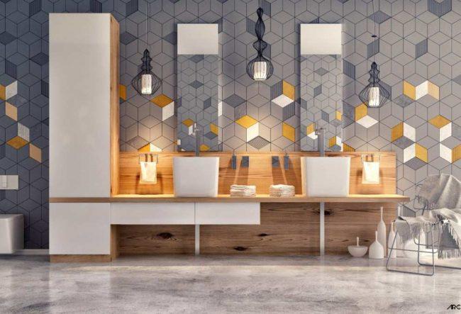 40 ایده طراحی حمام با دو سینک