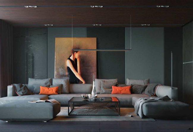 40 اتاق نشیمن خاکستری که کمک میکنند اتاق شما شیک تر نظر برسد