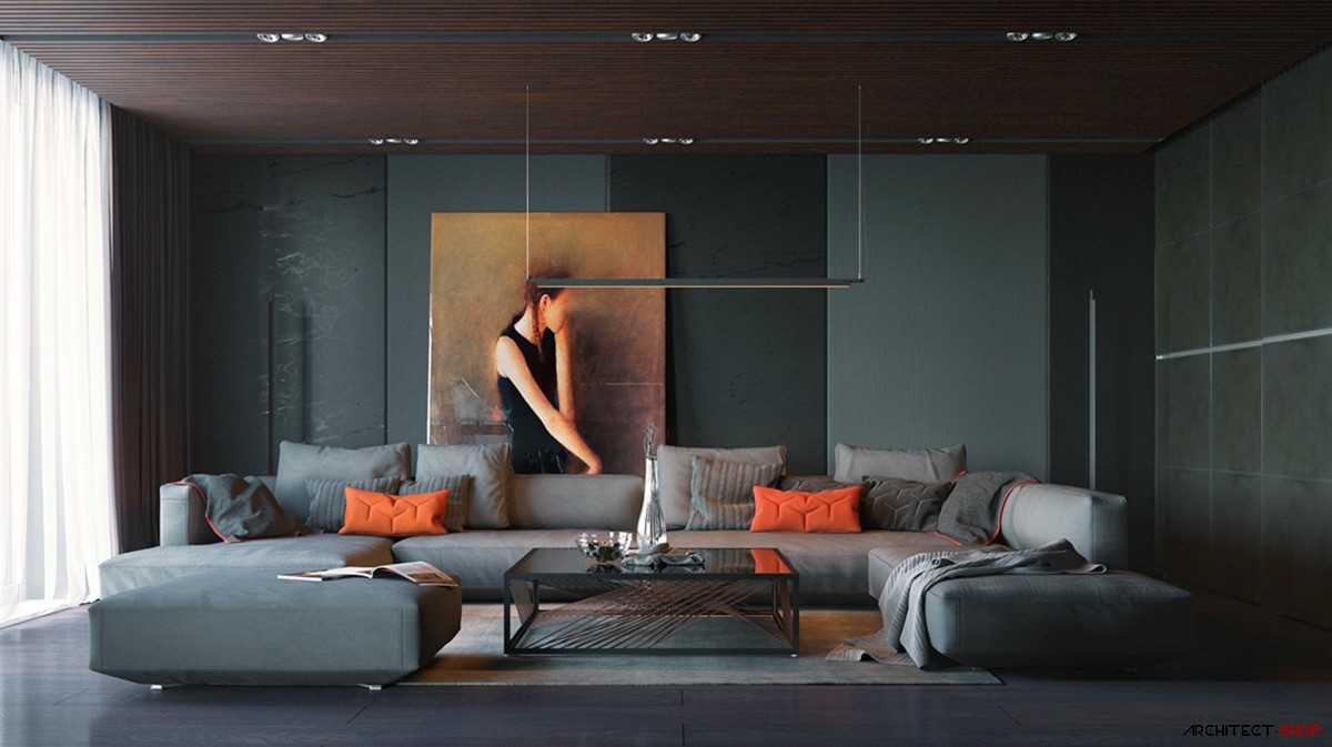 40 اتاق نشیمن خاکستری که کمک میکنند اتاق شما شیک تر نظر برسد - large painted canvas low couches grey and orange living room