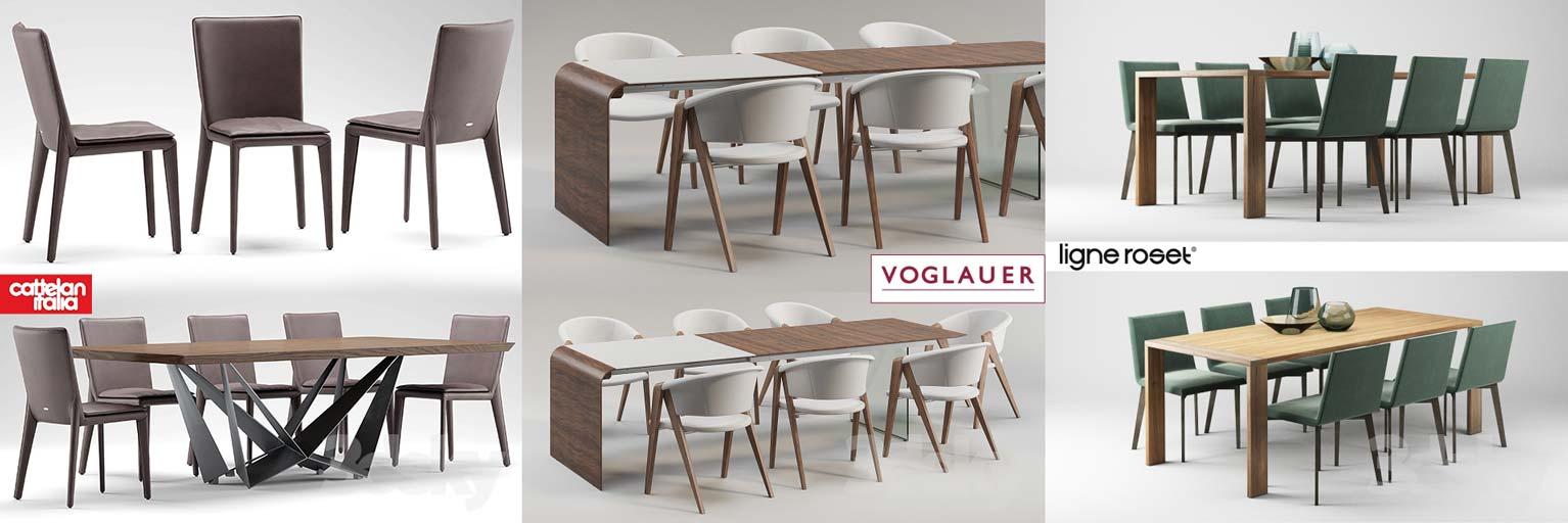 مدل سه بعدی میز و صندلی نهار خوری