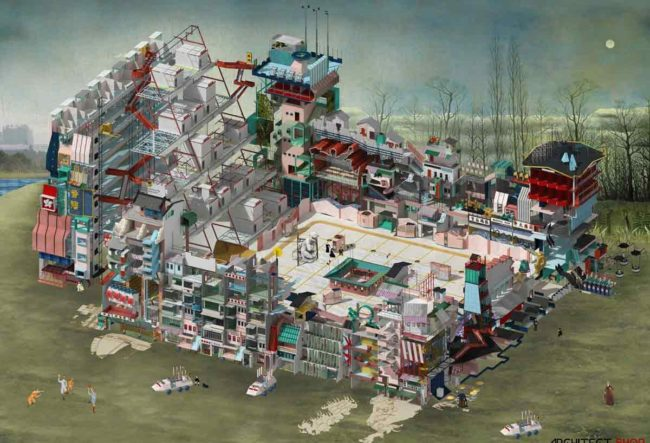 80 نمونه از برترین تابلو های نقاشی معماری