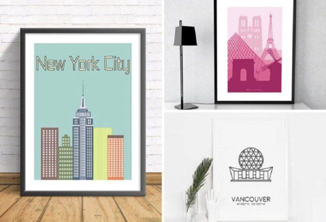 ایده های خلاقانه دکوراسیون – دیوار های خود را با نقاشی های هنری از شهر های مورد علاقه تان پر کنید