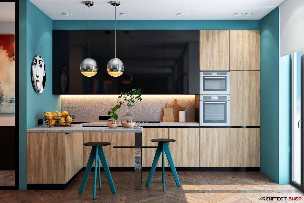 آشپزخانه با تم آبی