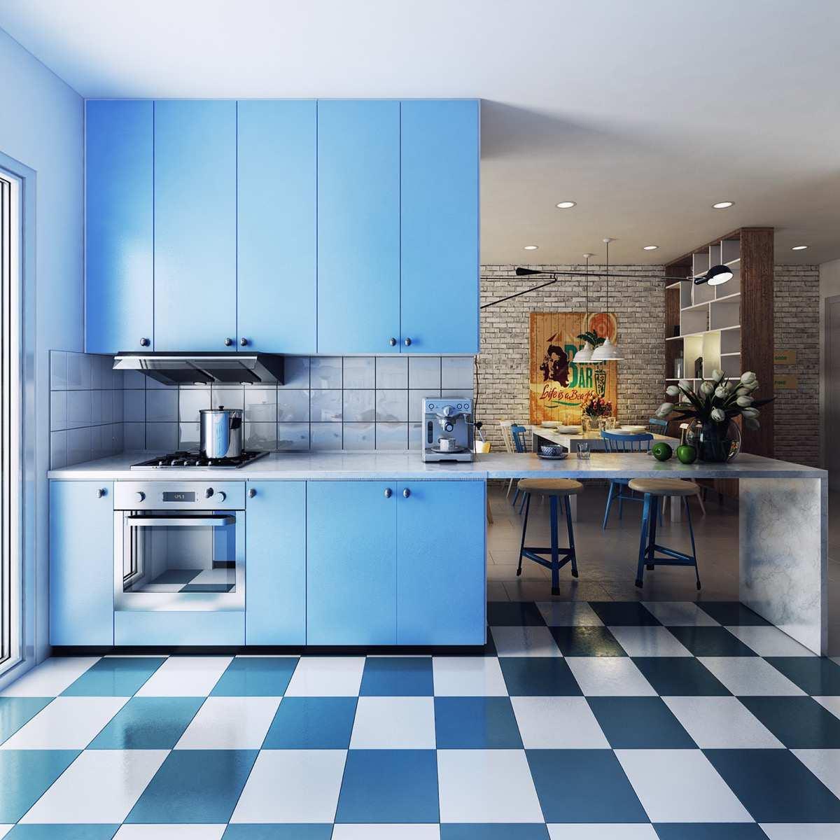 طراحی 30 نمونه آشپزخانه به رنگ آبی - Blue Kitchens 10