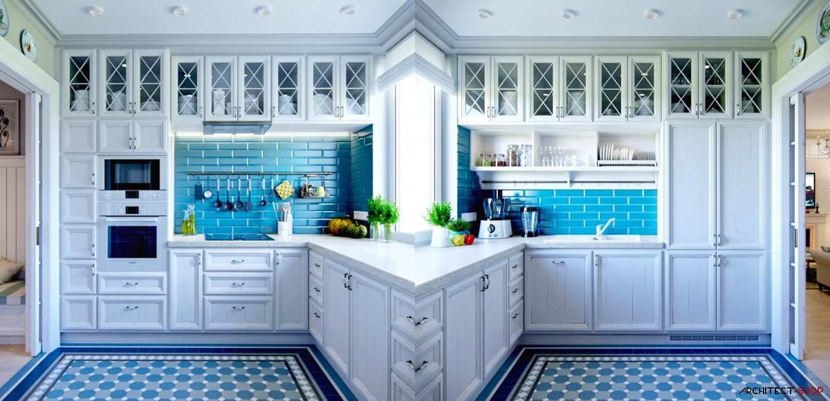 طراحی 30 نمونه آشپزخانه به رنگ آبی - Blue Kitchens 18