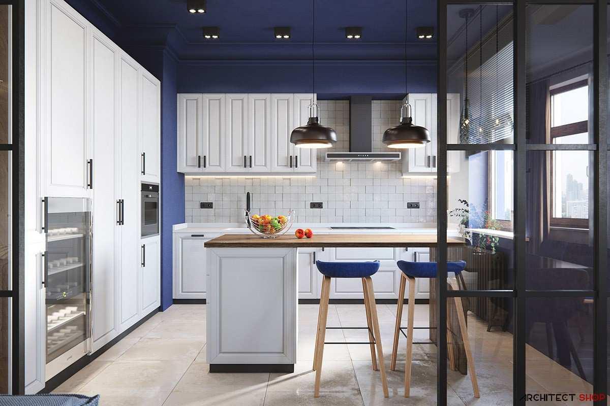 طراحی آشپزخانه به رنگ آبی