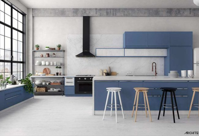 طراحی 30 نمونه آشپزخانه به رنگ آبی