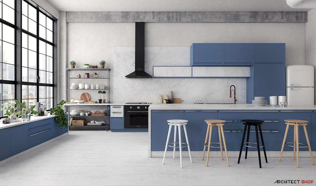 طراحی 30 نمونه آشپزخانه به رنگ آبی - Blue Kitchens 21