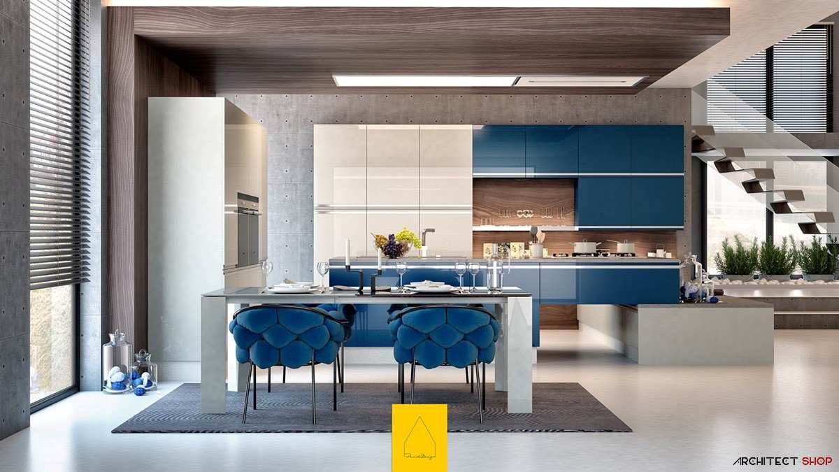 طراحی 30 نمونه آشپزخانه به رنگ آبی - Blue Kitchens 3