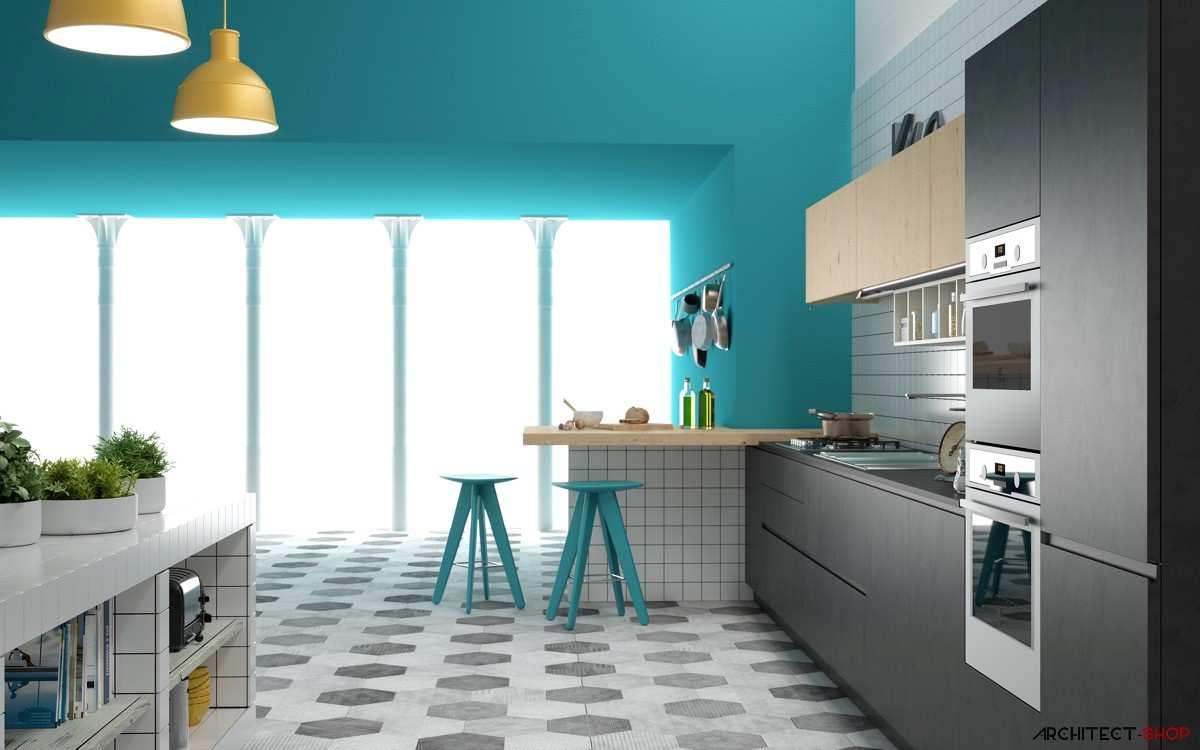 طراحی 30 نمونه آشپزخانه به رنگ آبی - Blue Kitchens 5