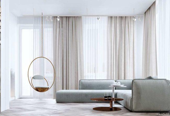 طراحی داخلی آپارتمان با تم طلایی