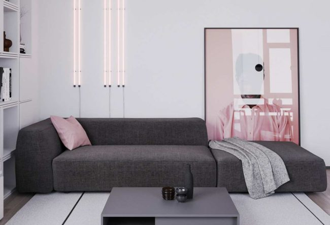 طراحی داخلی آپارتمان با تم خاکستری و صورتی