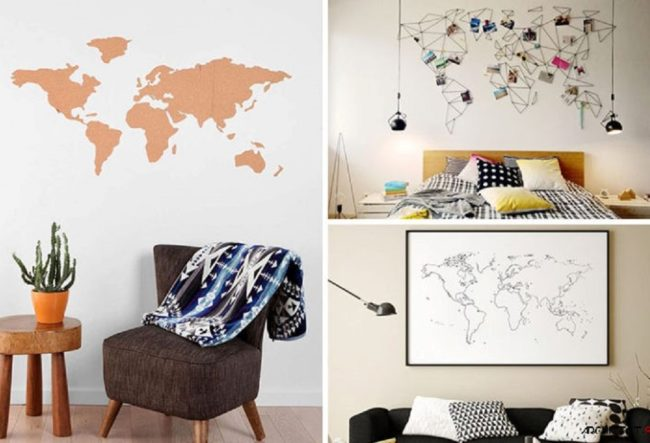 10 طرح نقشه جهان برای طراحی دیوار ساده