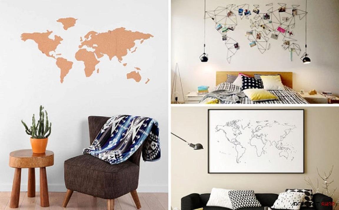 10 طرح نقشه جهان برای طراحی دیوار ساده - Plain Wall 21