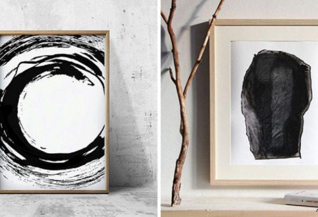 ایده های انتزاعی سیاه و سفید برای خلق دیوار هنری