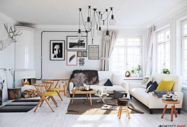 طراحی 30 نمونه اتاق نشیمن سفید که آرامش و لطافت را به ارمغان می آورند