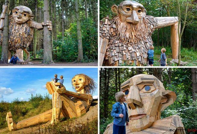 این 6 غول بزرگ چوبی در جنگل های کپنهاگ مخفی شده اند