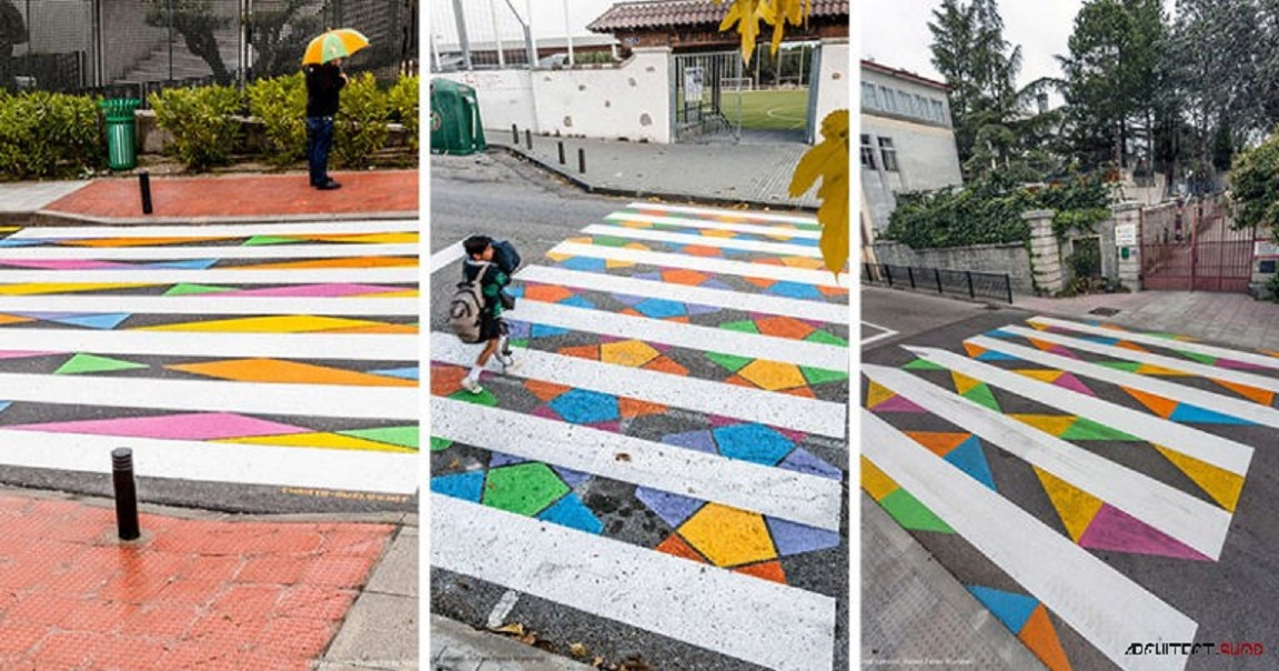 طراحی گذرگاه عابر پیاده در اسپانیا - crosswalks colorful 17
