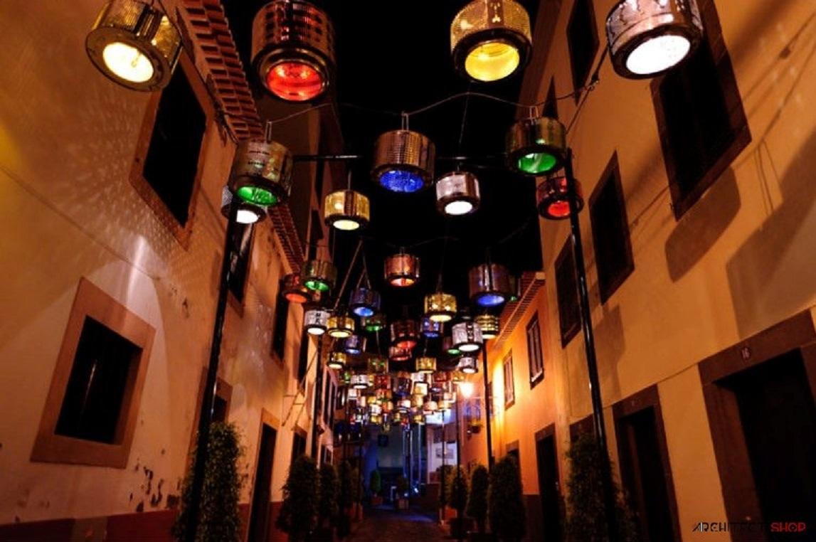 طراحی خلاقانه چراغ با استفاده از درام ماشین لباسشویی - street lamp 9